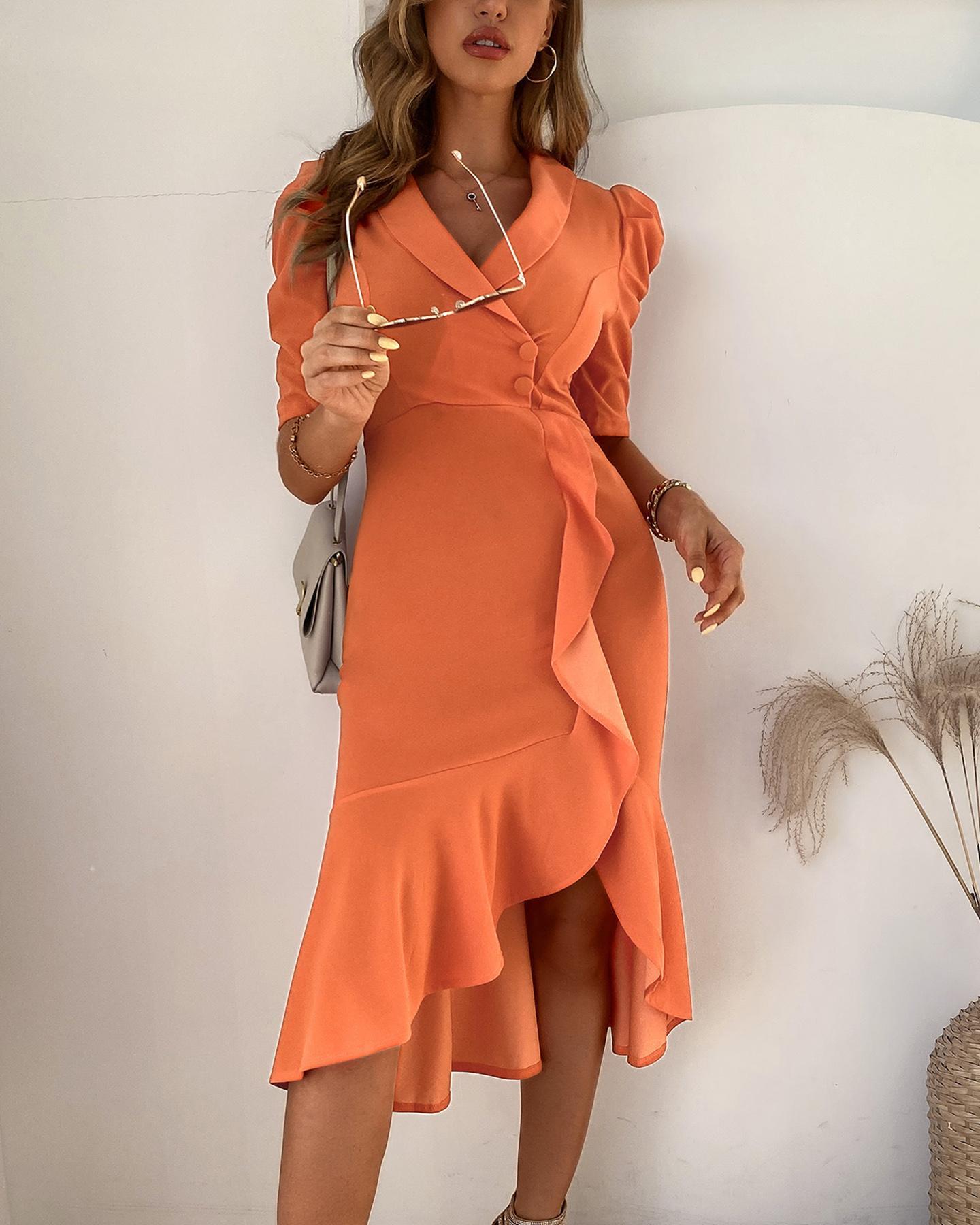 V-Cut Ruffle Hem Slit Wrap Midi Dress фото