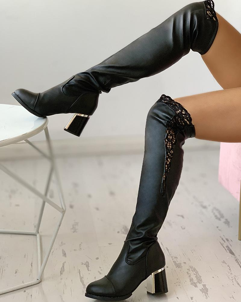 ivrose / PU Eyelash Lace Chunky Heels Long-Boots