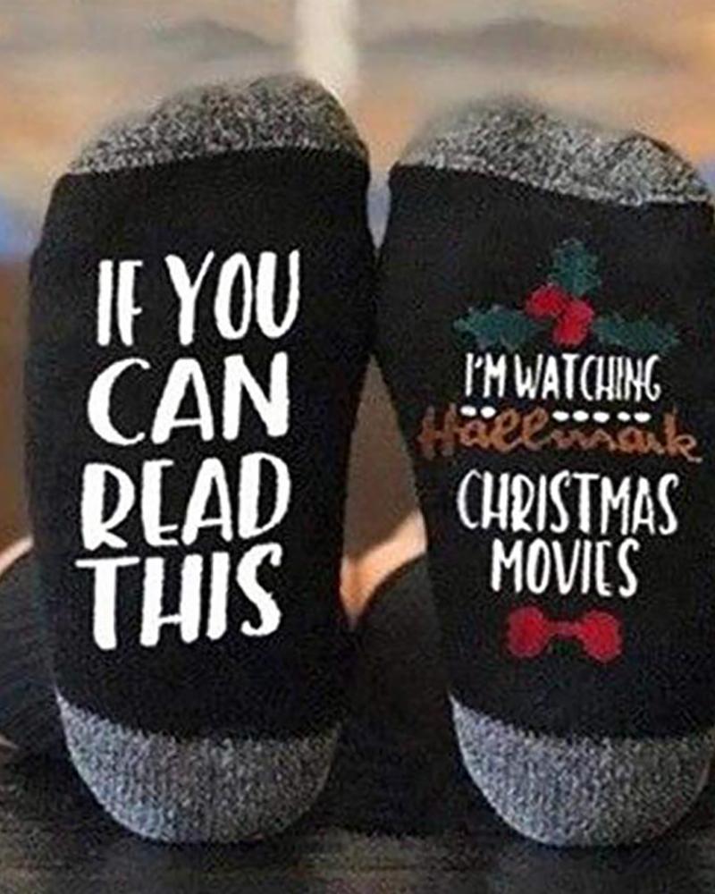 chicme / Christmas Letter Print Colorblock Socks