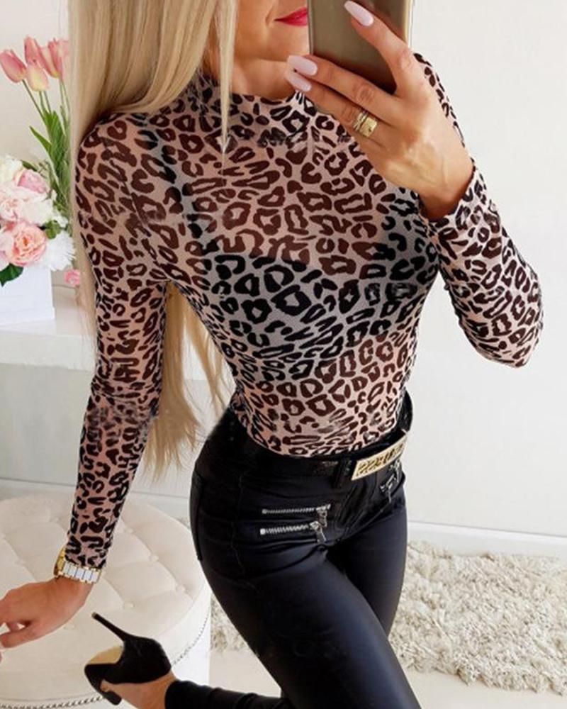 joyshoetique / Leopard Print Mesh Long Sleeve Top