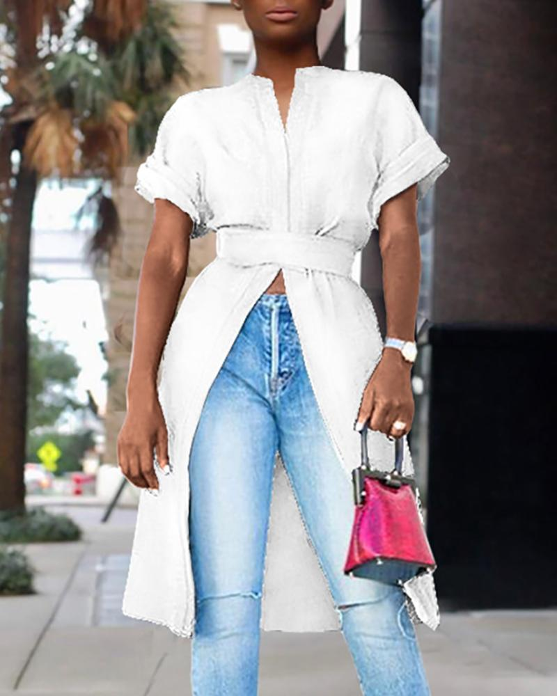 Casual Short Sleeve Slit Top фото
