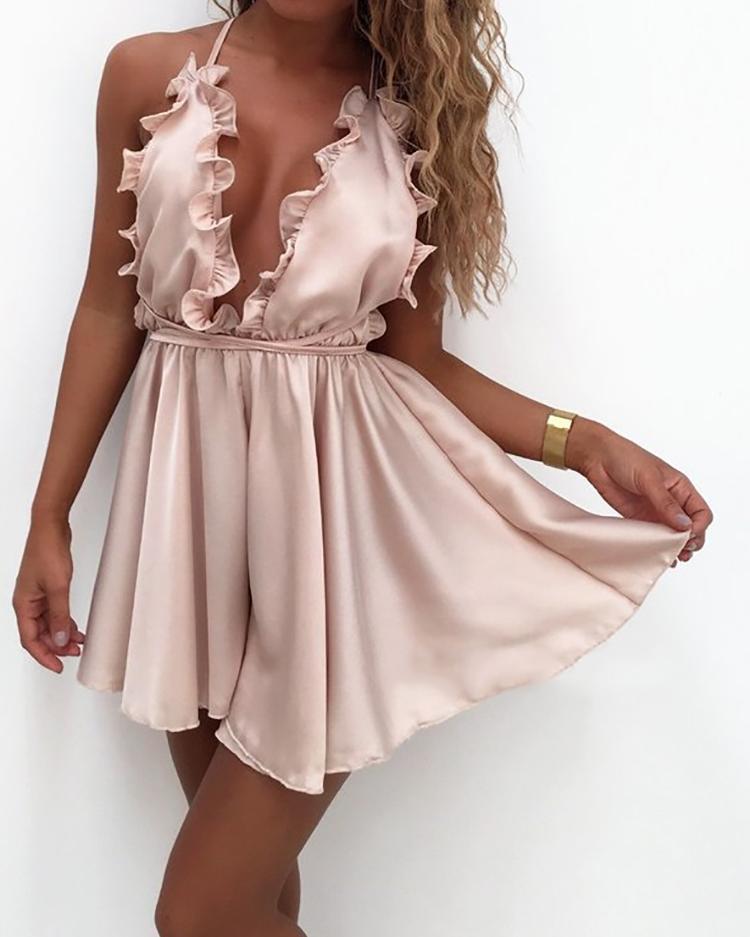 chicme / Low Cut Crisscross Open Back plisado mini vestido