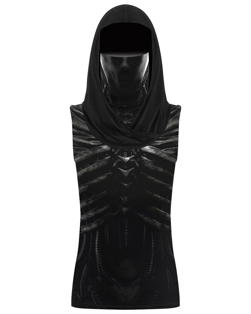 Skeleton Print Hooded Tank Top With Ear Loop Face Bandana