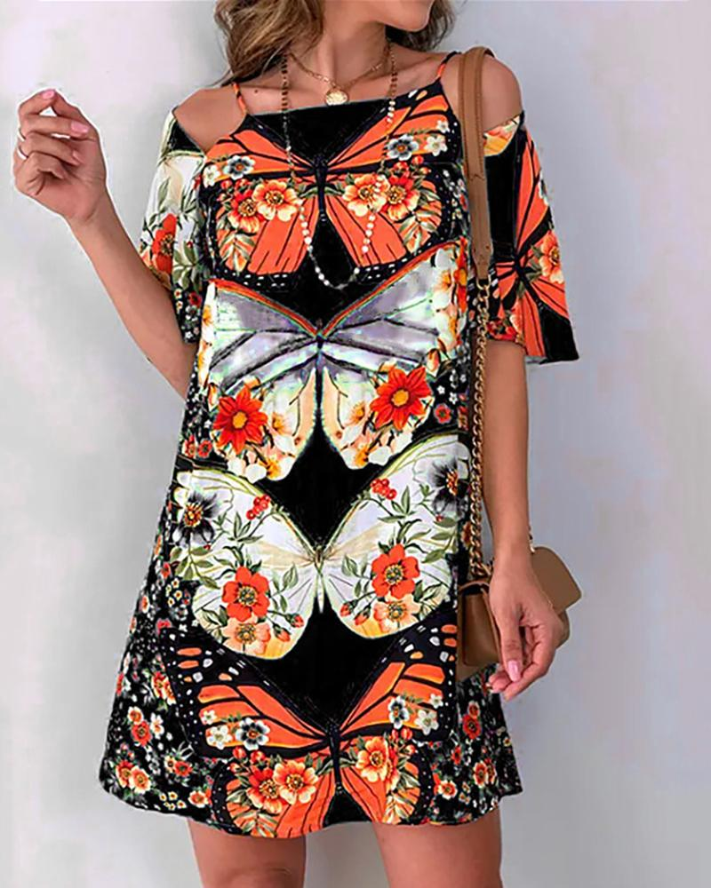 Butterfly Print Cold Shoulder Backless Dress фото