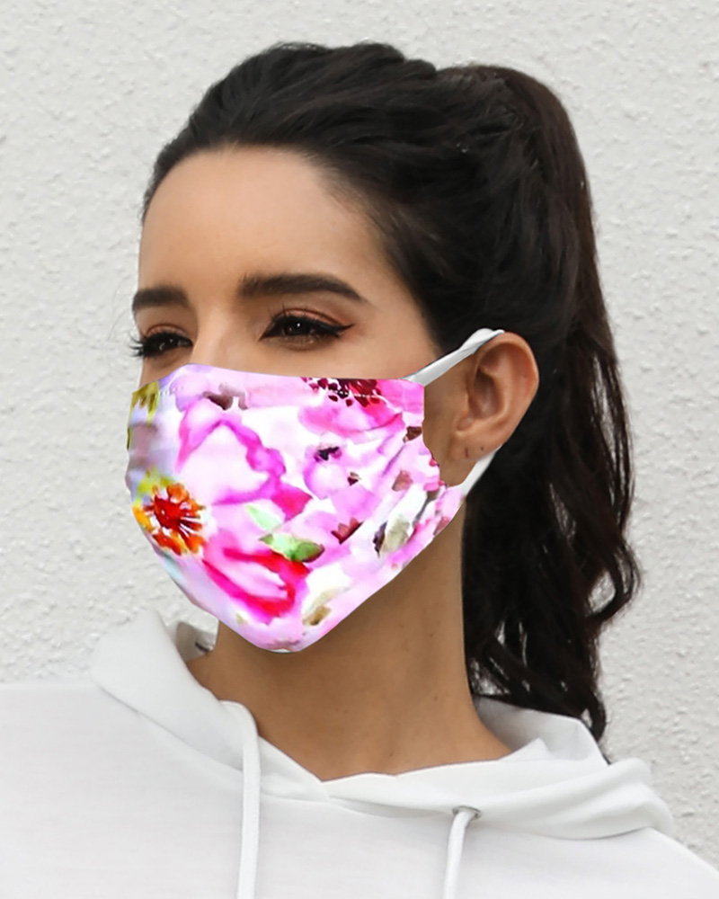 Floral Print Breathable Mouth Mask Washable And Reusable Without Cord Lock Toggles фото