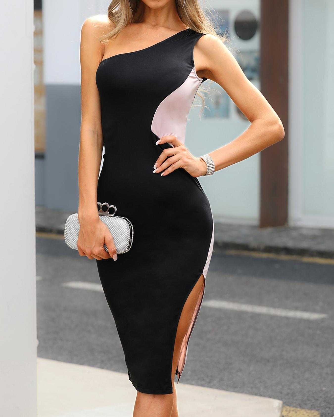 One Shoulder Colorblock Side Slit Dress фото