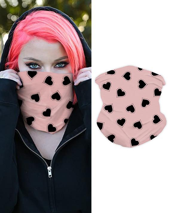 Heart Print Face Bandana Magic Scarf Headwrap Balaclava, Pink
