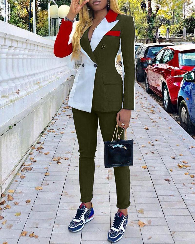 boutiquefeel / Colorblock entalhado gola trespassado blazer e calças conjuntos