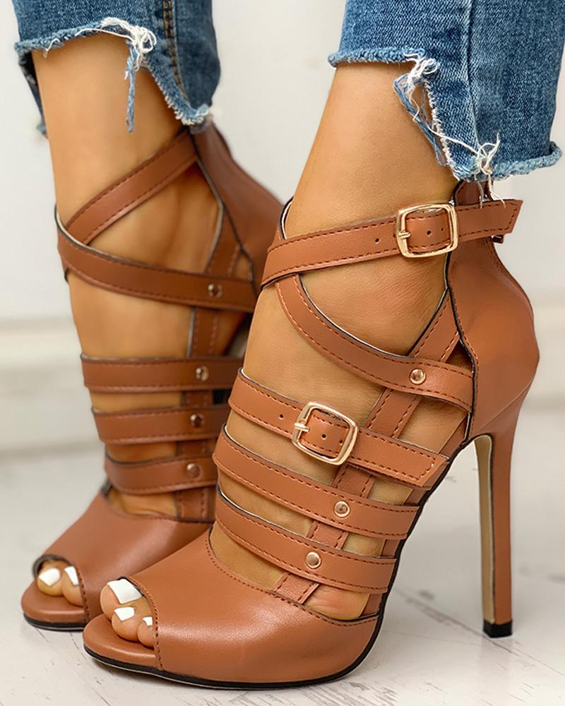 ivrose / Solid Hollow Out Ankle Strap Thin Heeled Sandals