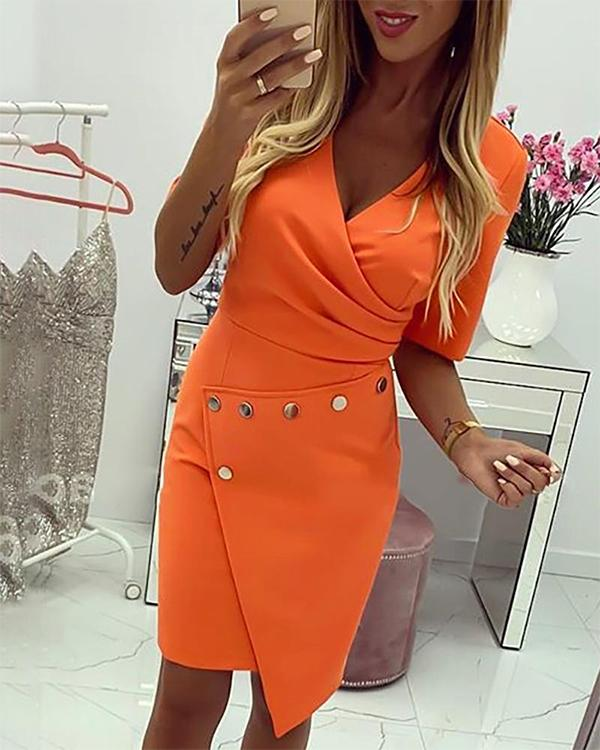 Buttoned Ruched Surplice Wrap Bodycon Dress фото