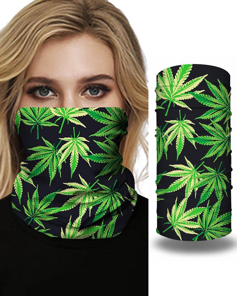 Print Face Bandana Magic Scarf Headwrap Balaclava, Green