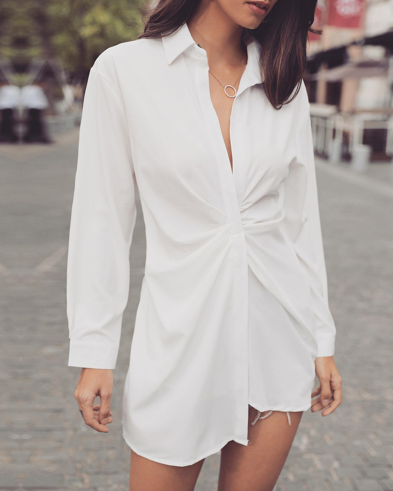 Solid Scrunch Long Sleeve Shirt Dress