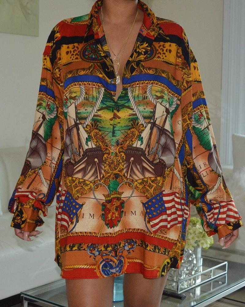 ivrose / Vestido de camisa casual de impressão totem