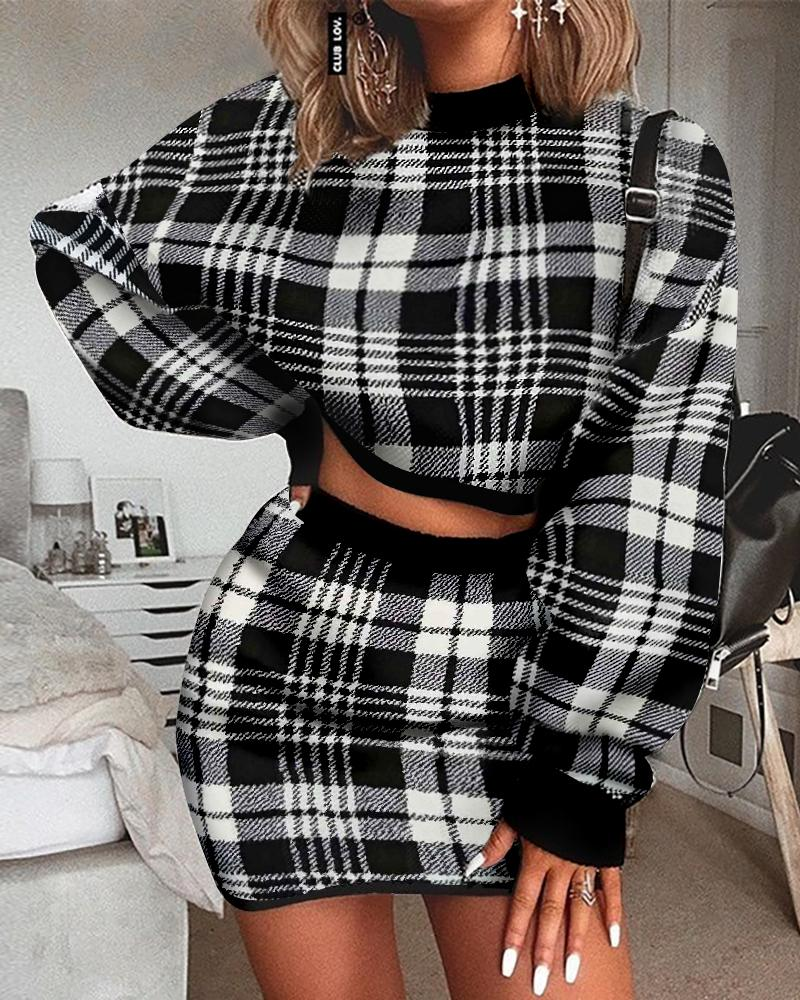 chicme / Grid Long Sleeve Crop Top & Mini Skirt Sets
