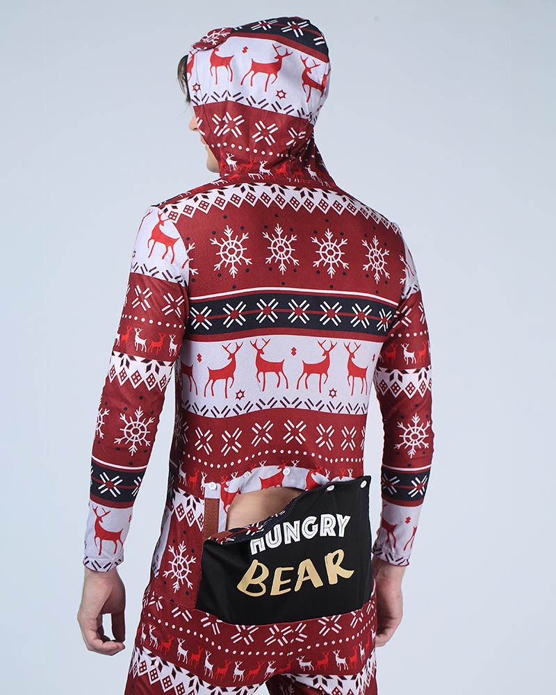 Chritmas Long Sleeve With Bear Ear Hoodies Jumpsuits