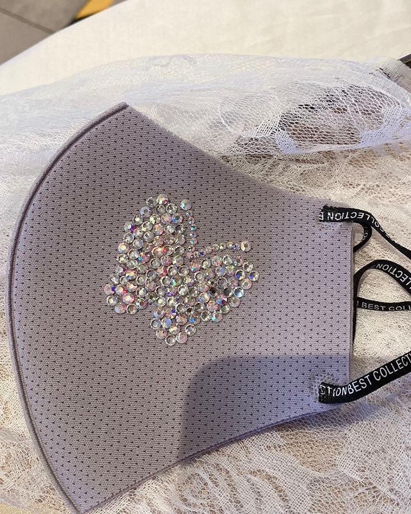 Glitter Butterfly Pattern Studded Breathable Mouth Mask фото