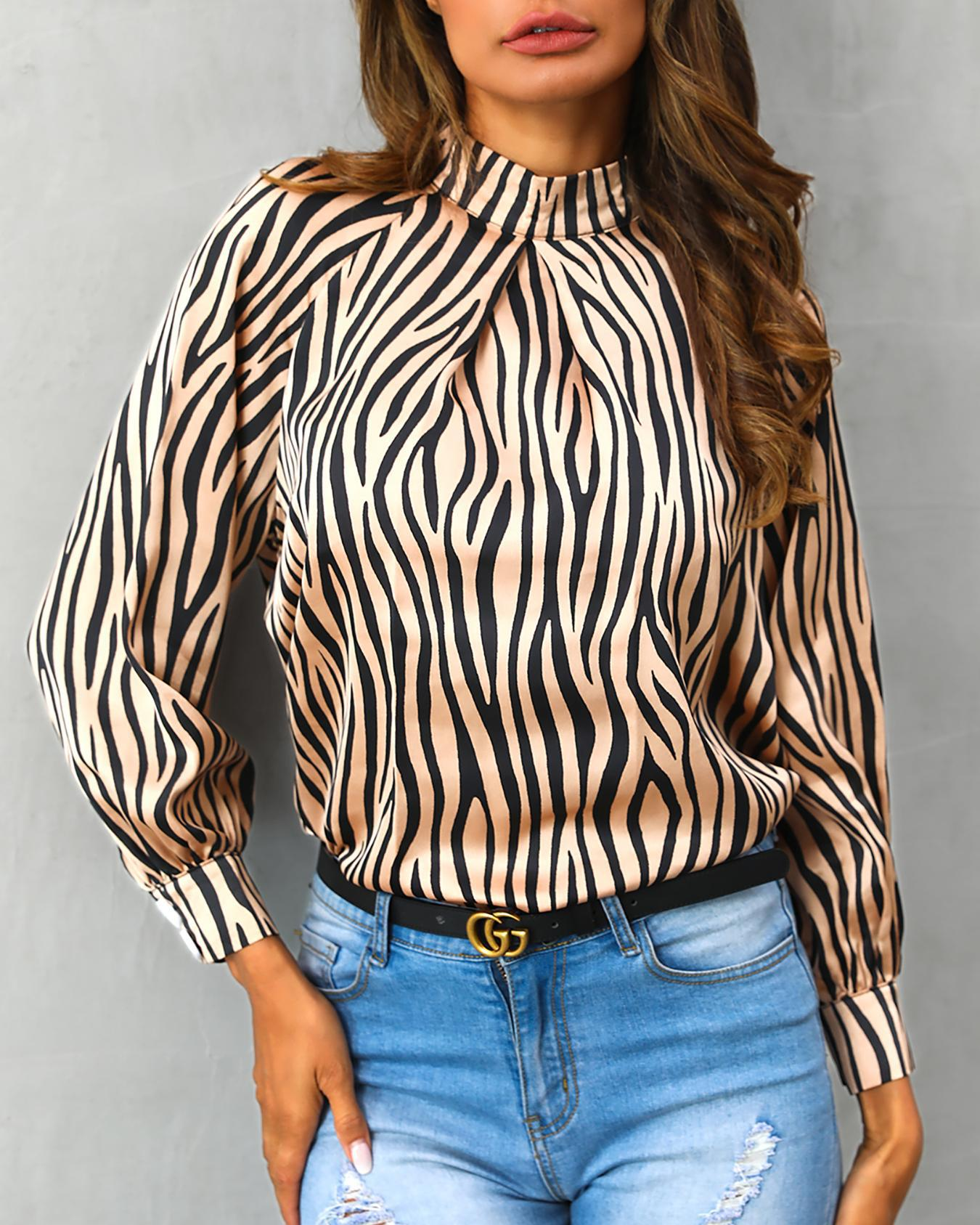 Striped Lantern Sleeve Casual Blouse фото
