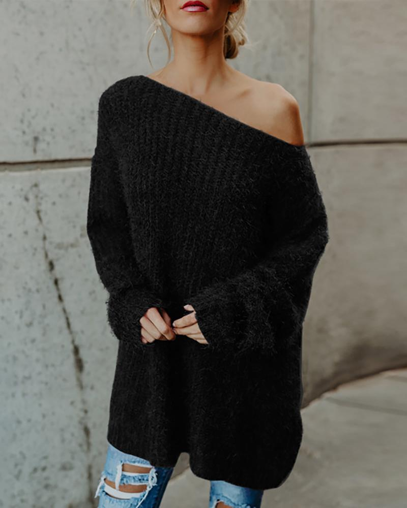 Solid One Shoulder Casual Sweater фото