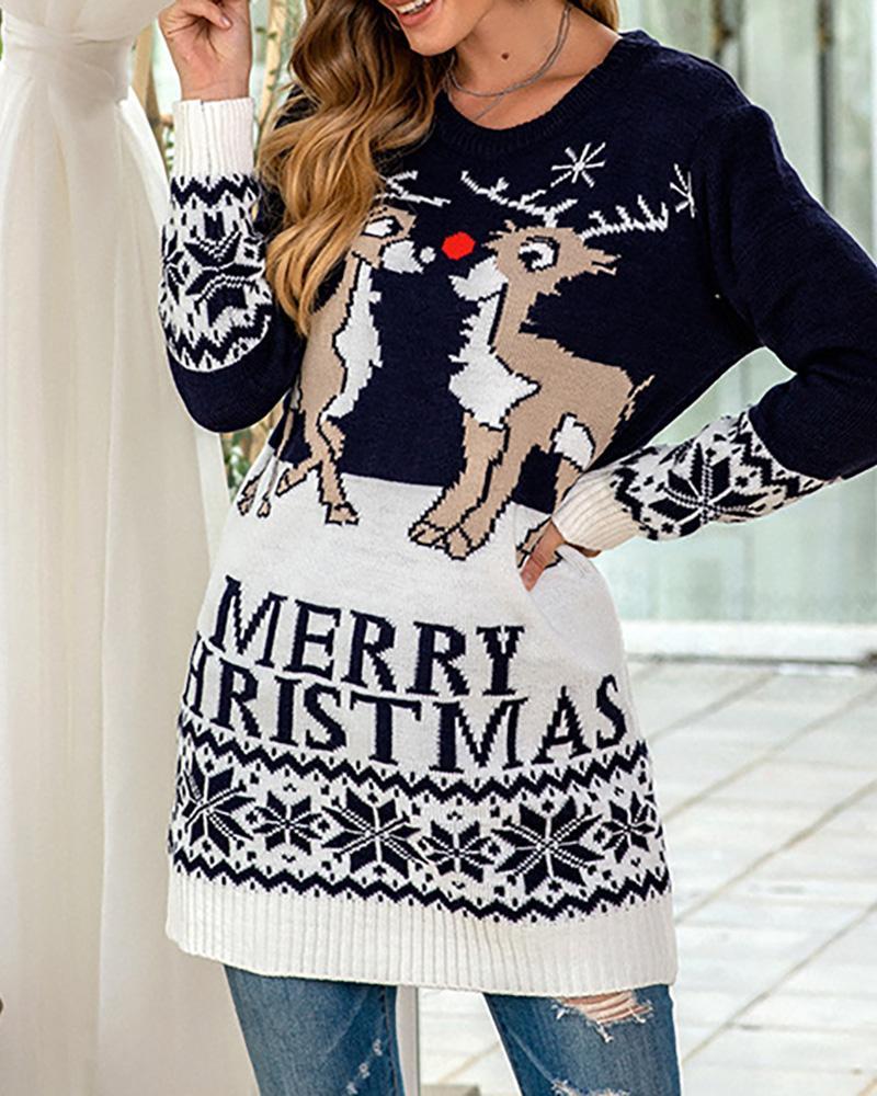 ivrose / Christmas Letter Moose Print Knit Sweater Dress