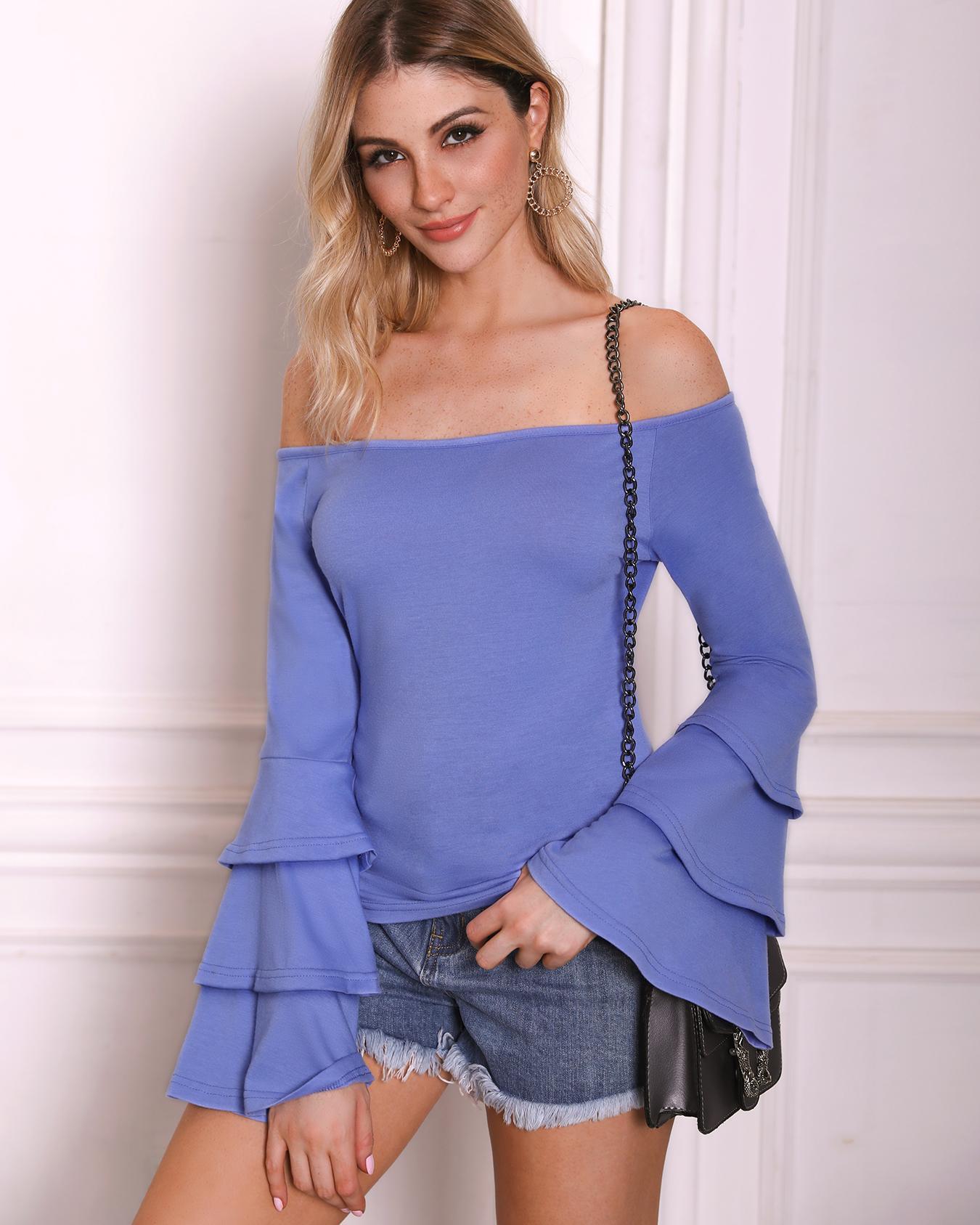 Solid Layered Flared Sleeve Bardot Top фото