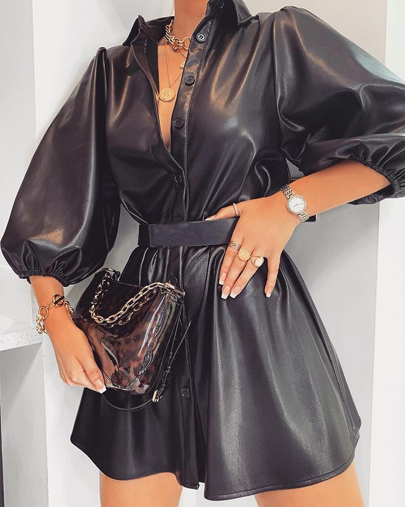 Solid Button-Up Leather Dress, Black