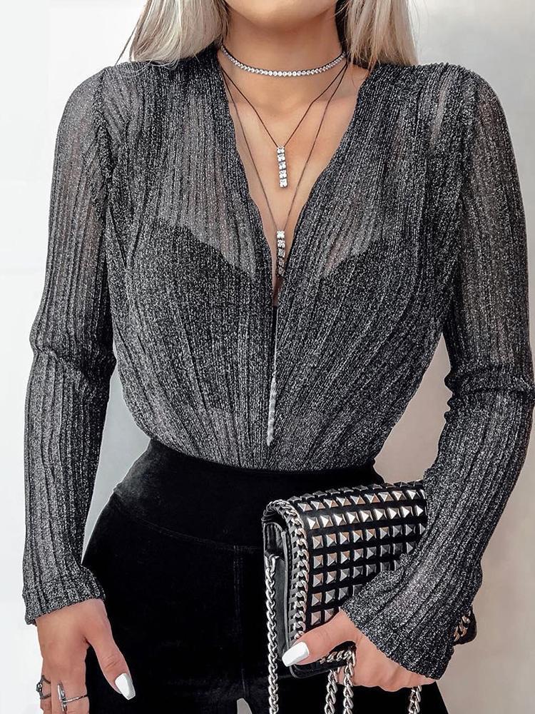 Shiny Deep V-Neck Long Sleeve Bodysuit