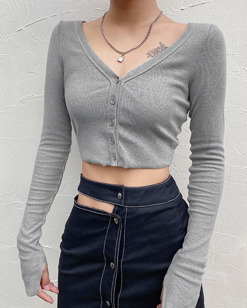Solid Knitted Long Sleeve Top фото