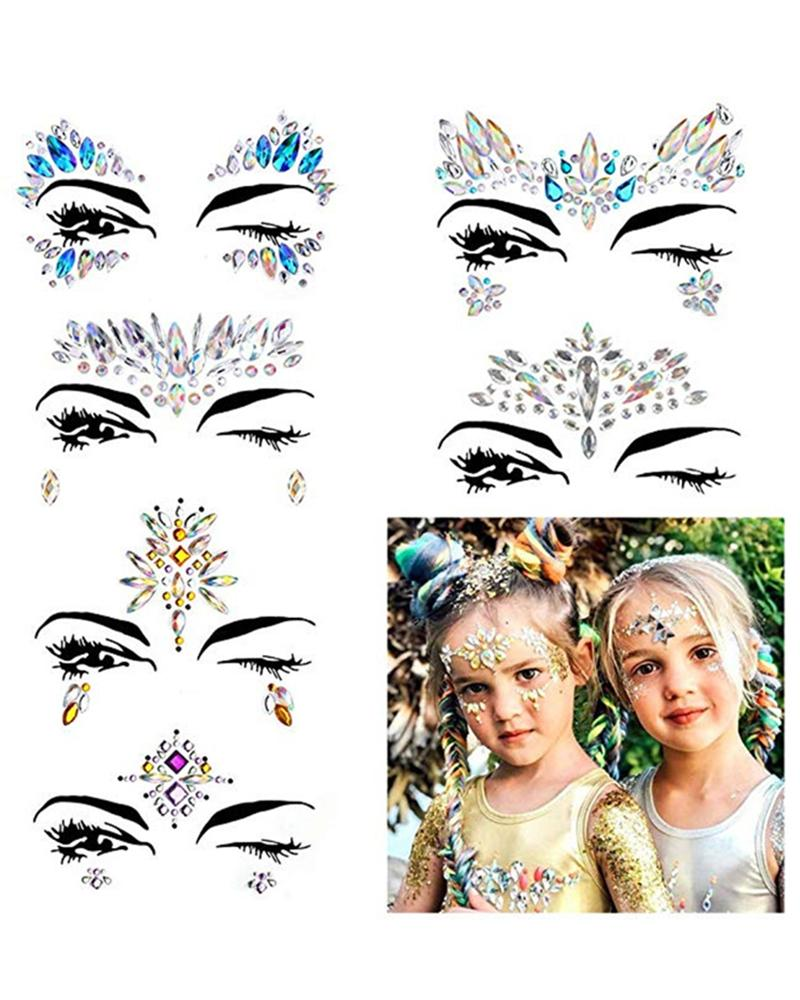 Face Gems Tattoo Stickers Acrylic Crystal Glitter Stickers фото