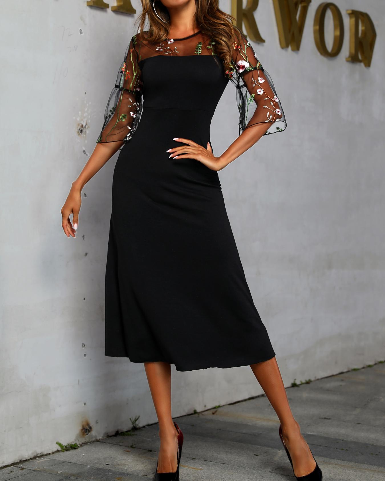 boutiquefeel / Vestido de bordado floral de yugo de malla transparente