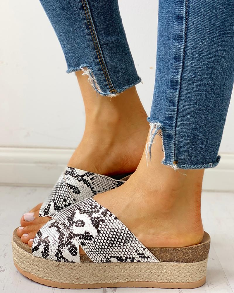 Crisscross Design Espadrille Platform Sandals фото