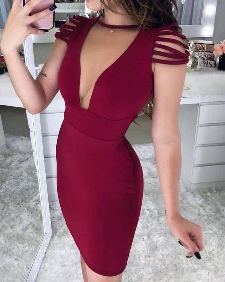 boutiquefeel / Borlas ombro pura malha inserir bodycon vestido