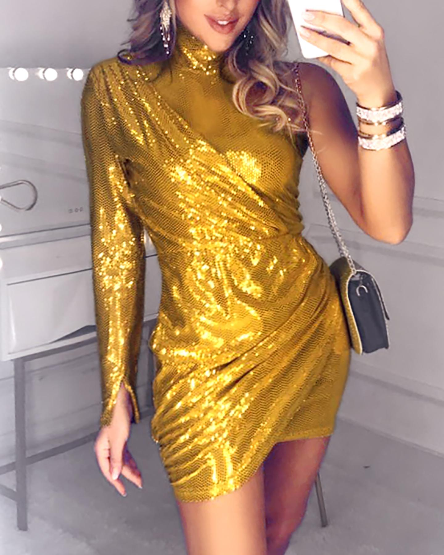 Glitter Mock Neck One Shoulder Ruched Sequins Bodycon Dress фото