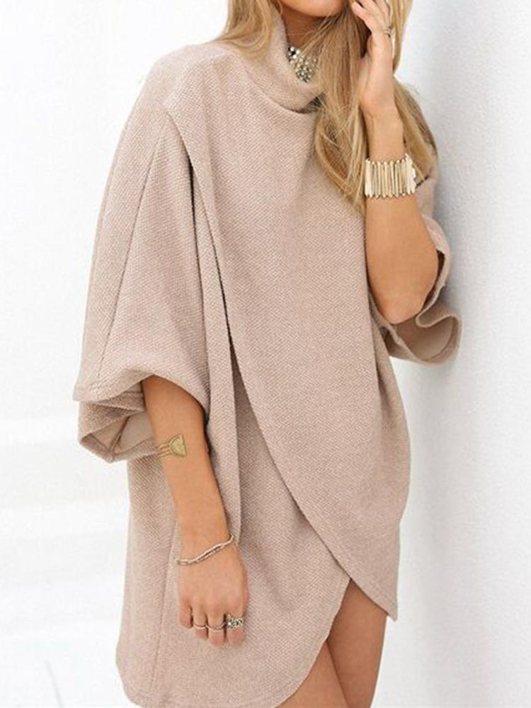 Irregular 3/4 Sleeves High Neck Dress