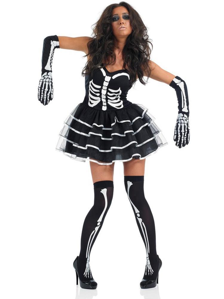 Women Adult Skeleton Zombie Bride Halloween Costume Party Dress