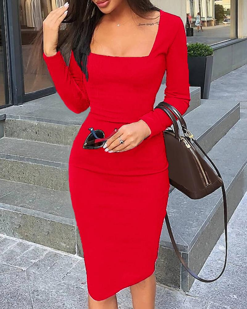Square Neck Long Sleeve Bodycon Dress, Red
