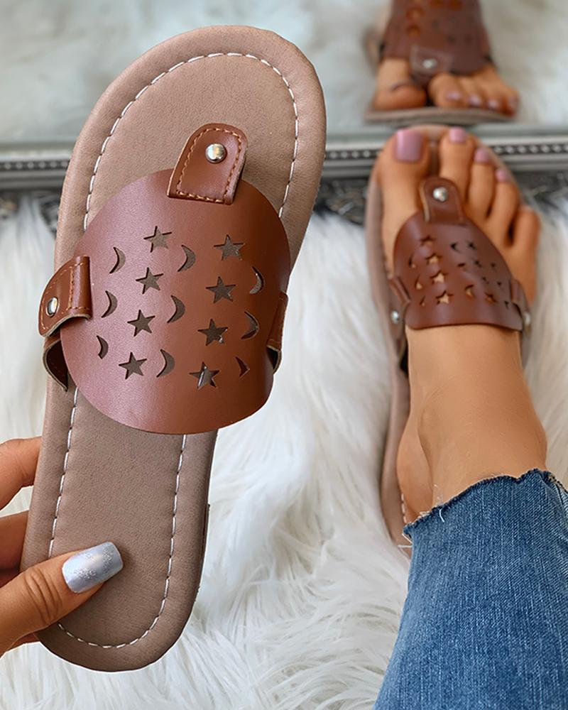 Toe Post Star Moon Pattern Hollow Out Flat Sandals фото