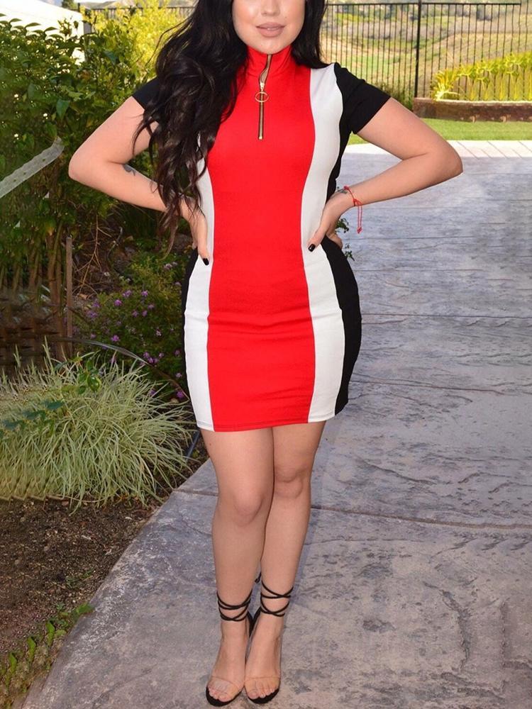 Fashion Contrast Color Zipper Summer Dress