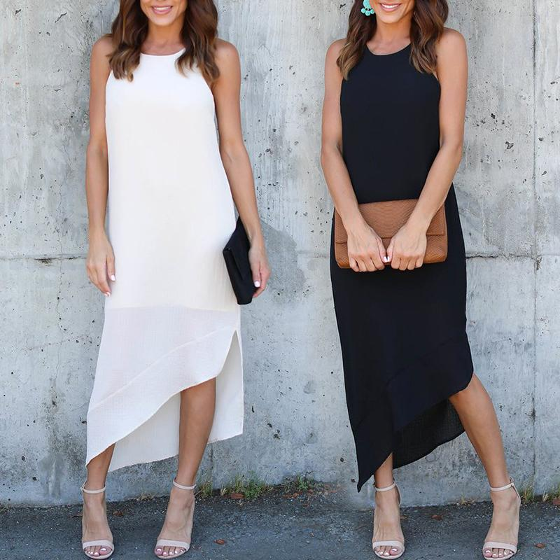 Cut Out Irregular Hem Sleeveless Maxi Dress