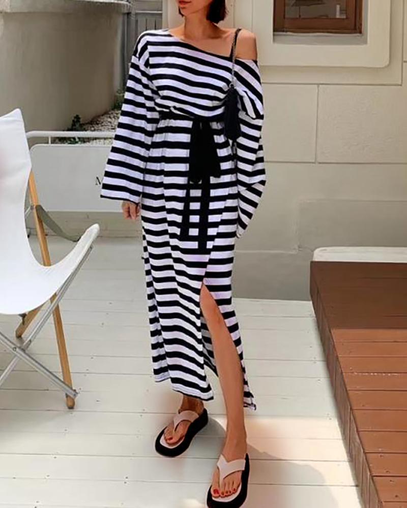 chicme / Vestido maxi listrado com faixa alta de um ombro