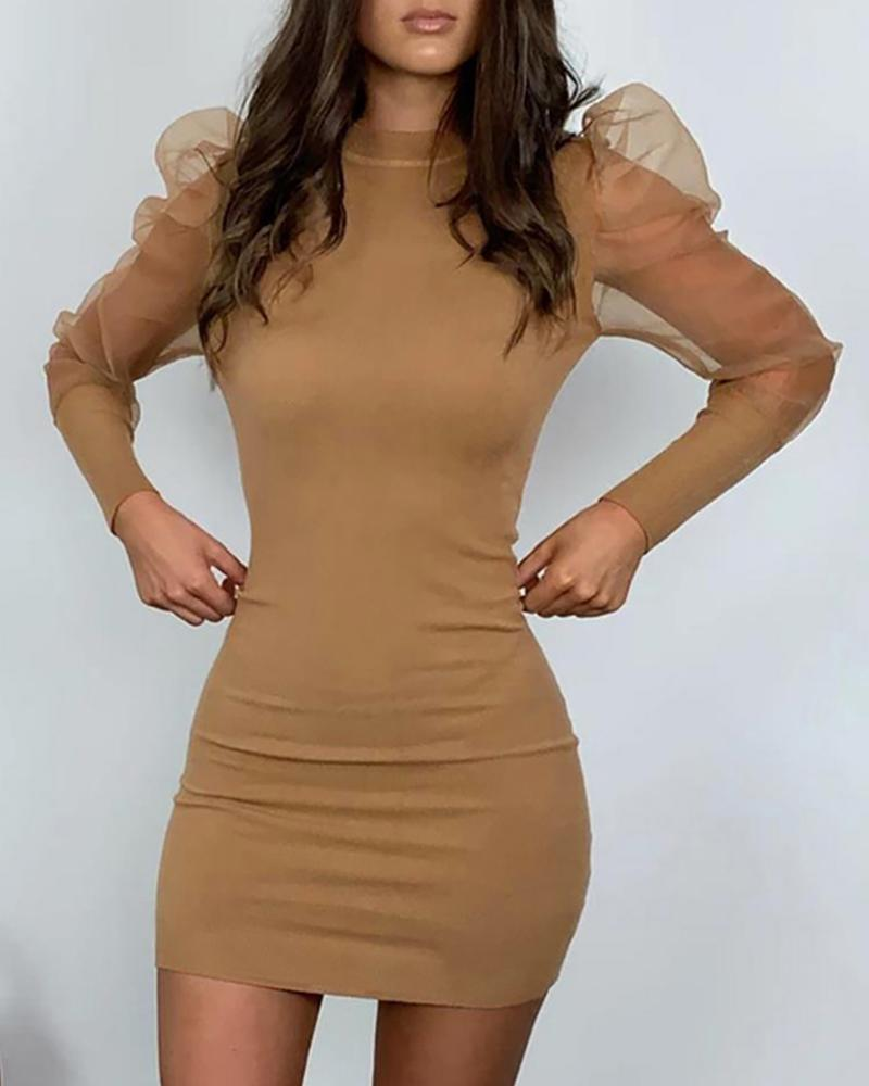 Solid Mock Neck Puff Sleeve Mesh Insert Bodycon Dress фото