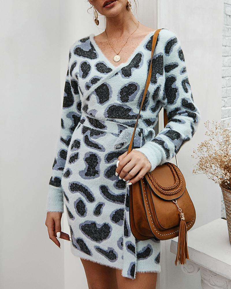 Cheetah Print Fluffy Long Sleeve Dress фото