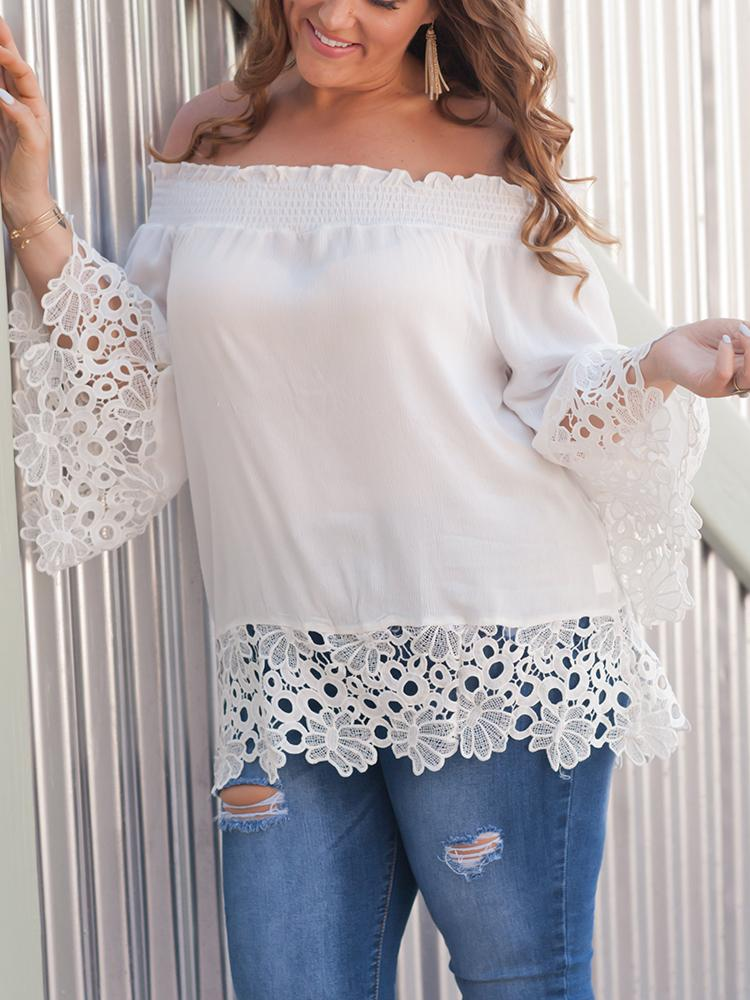 Off Shoulder Shirring Guipure Lace Blouse, White