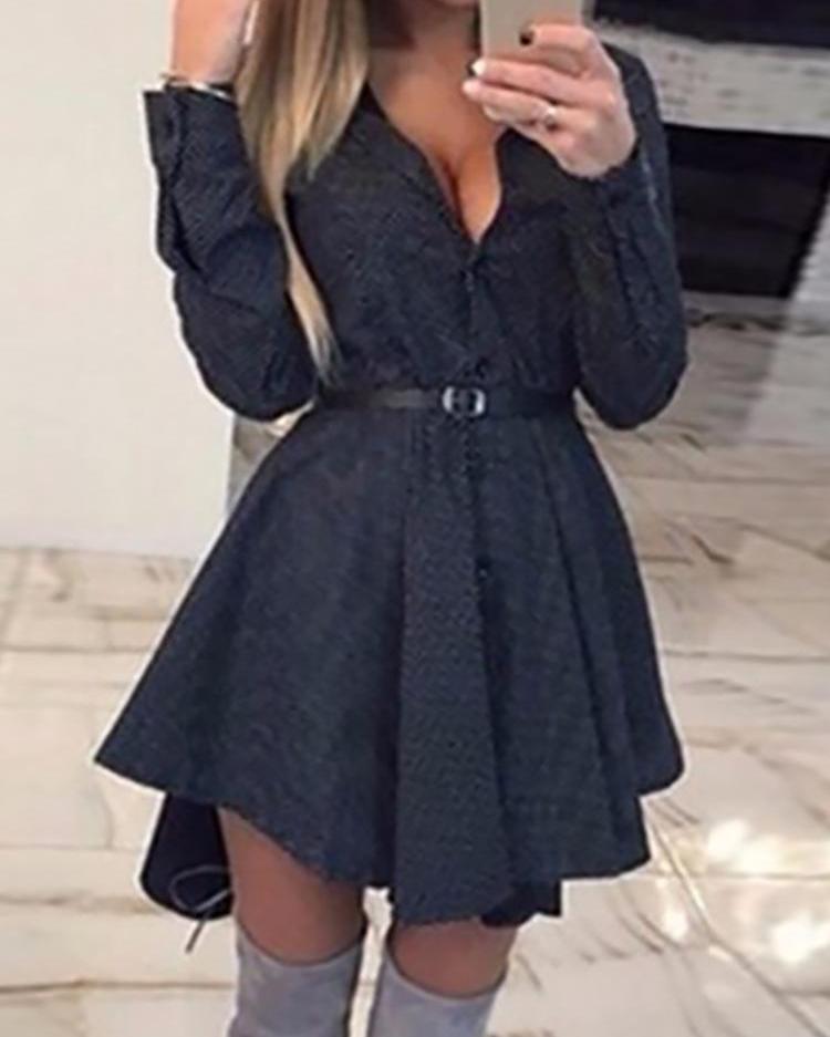ivrose / Dots Button Up vestido de camisa plissada