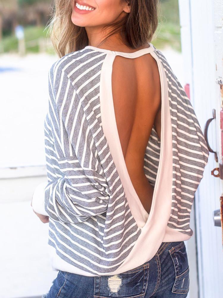 Striped Crisscross Open Back Casual Sweatshirts