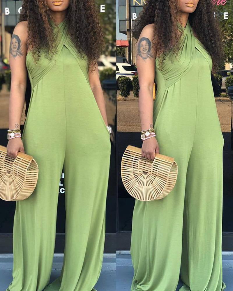 Multi-way Off Shoulder Wide Leg Jumpsuit, Green