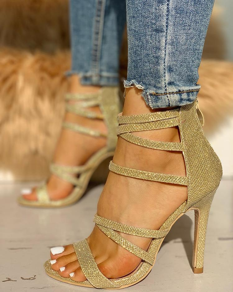 Glitter Multi-strap Thin Heeled Sandals
