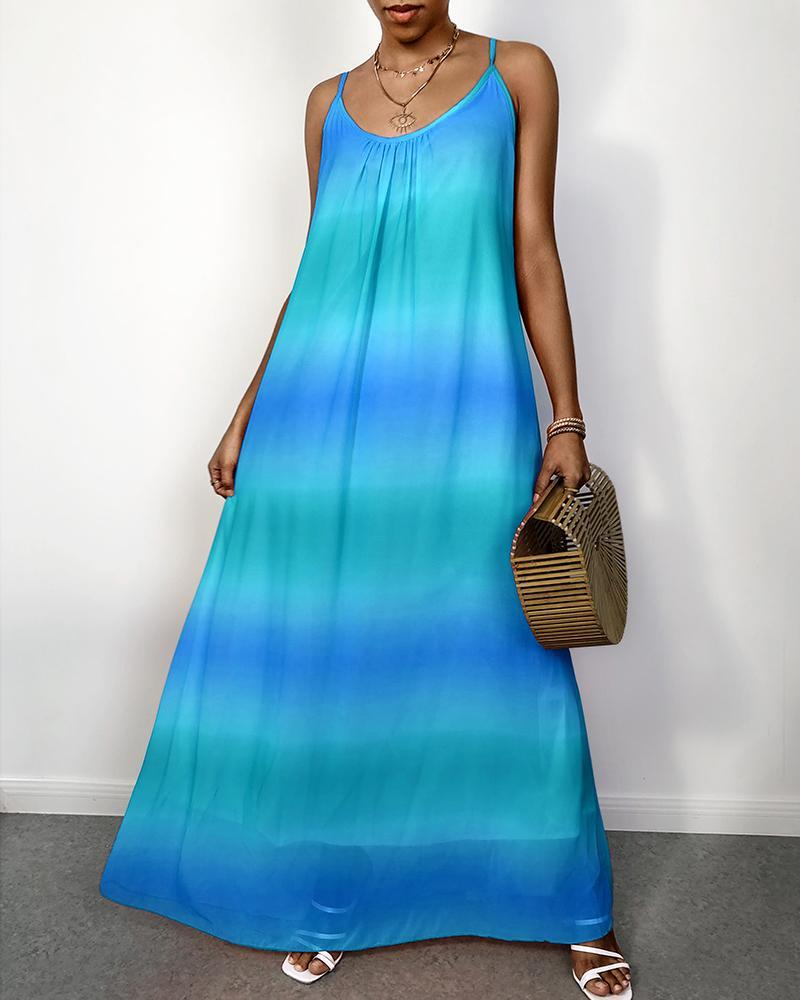 Spaghetti Strap Tie Dye Casual Maxi Dress фото