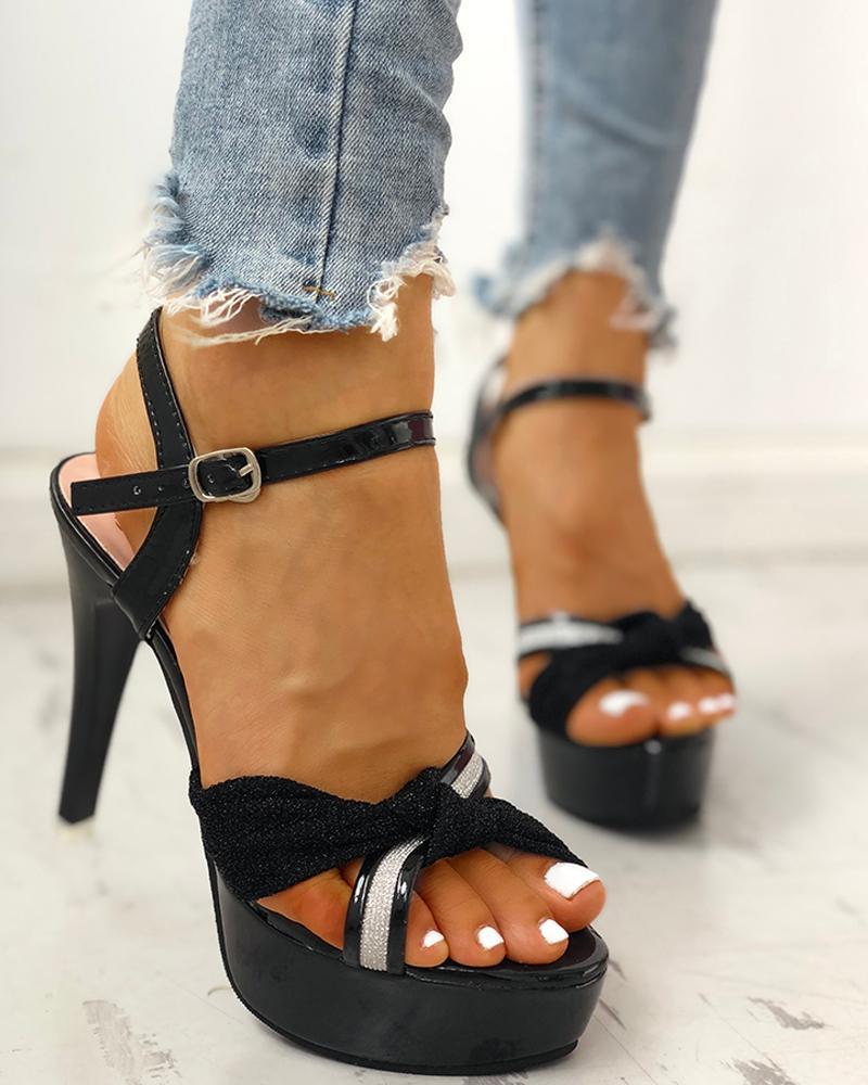 ivrose / Glitter Bandage Crisscross Platform Thin Heeled Sandals