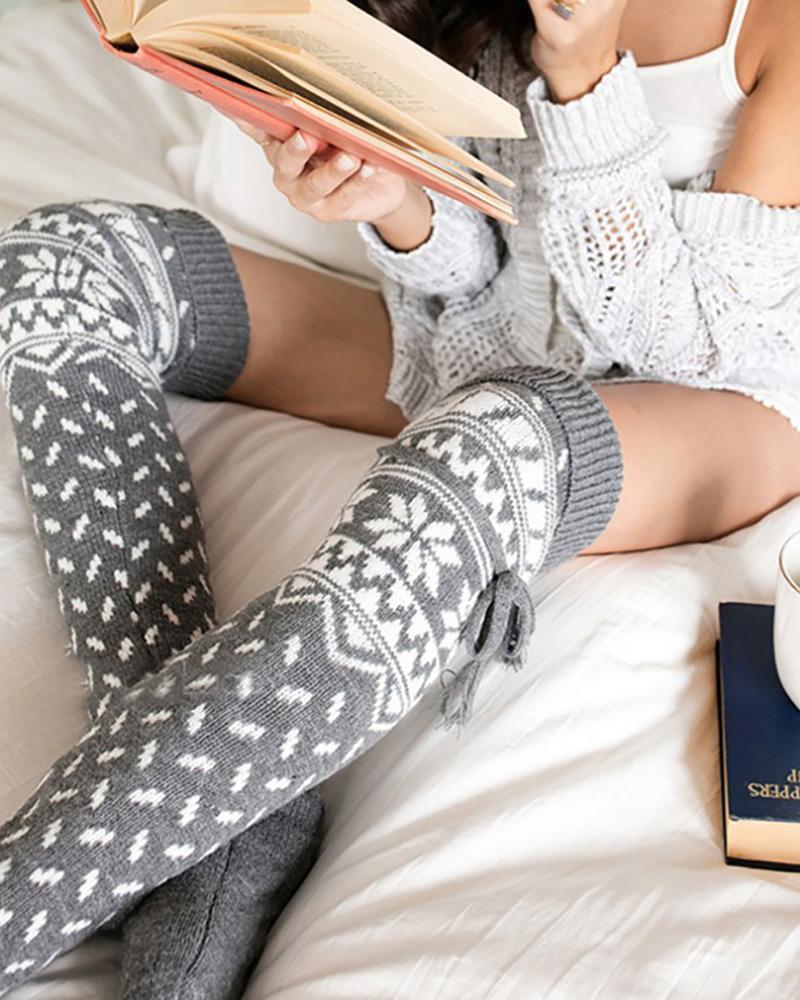 chicme / Christmas Pattern Tied Detail Knee Length Socks