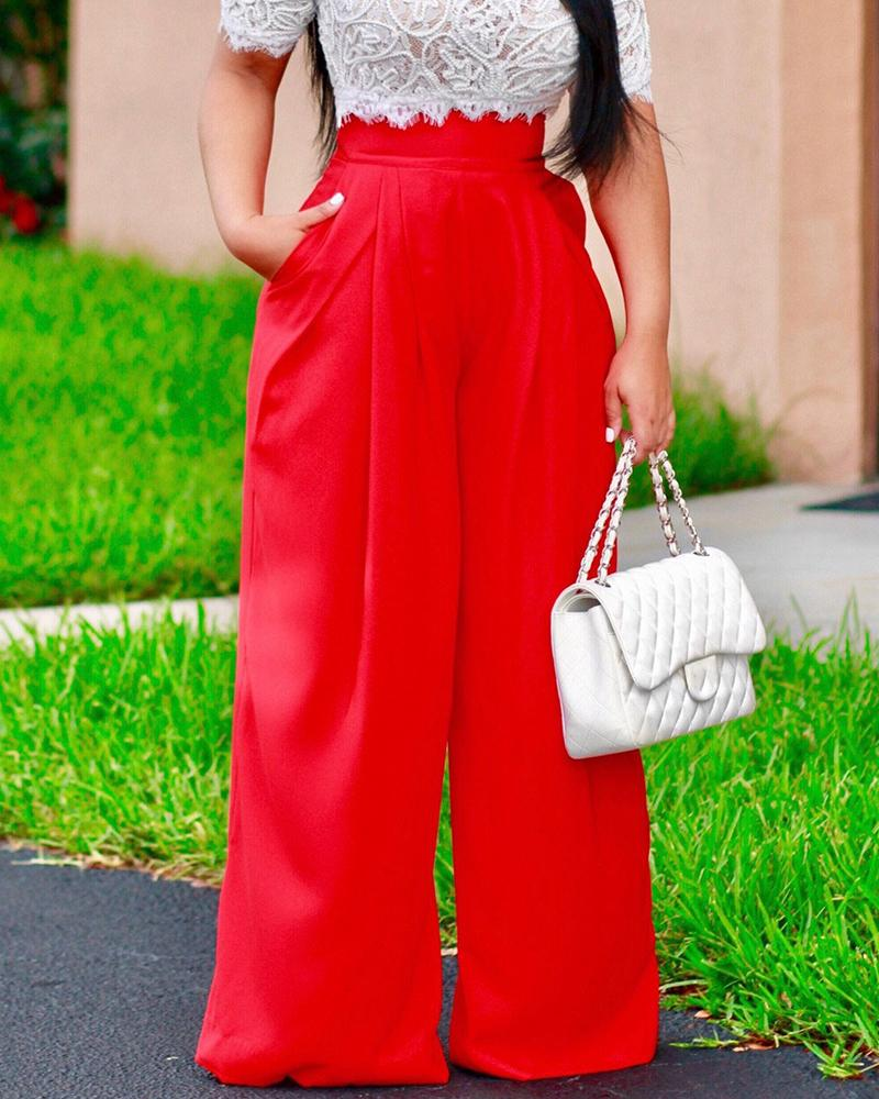 Stylish Solid Color Wide Leg Pants фото